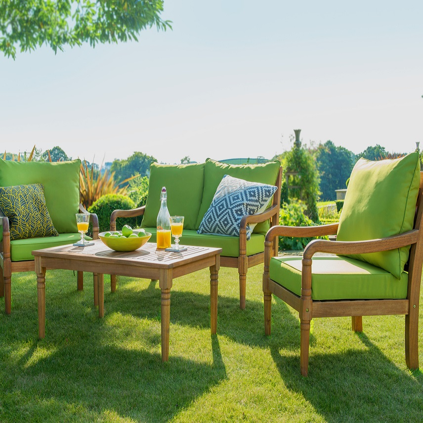 Small Image of Hartman Cleobury Lounge Set, Acacia with Lime Cushions