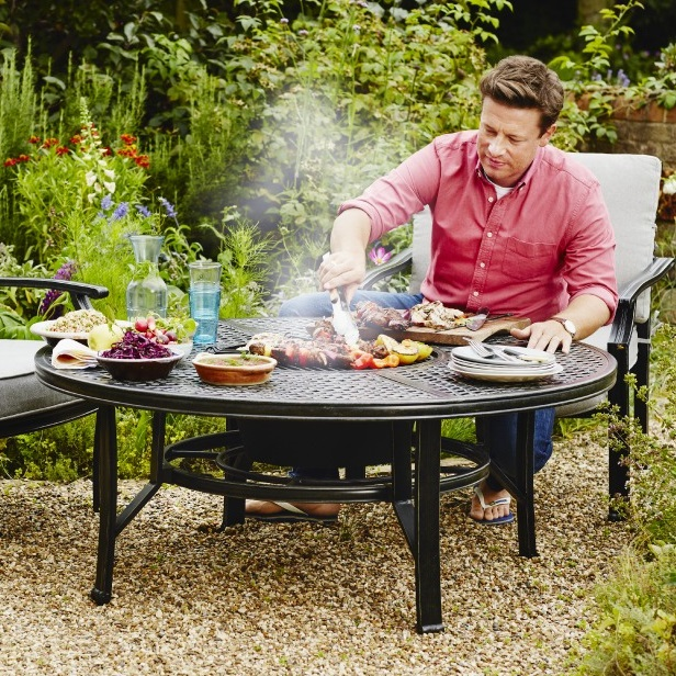 Image of Jamie Oliver Classic 4 Seater Fire Pit Set - Riven/Pewter