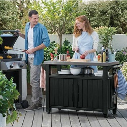 Small Image of Keter Unity XL Barbecue Accessory Trolley Stand Double - Anthracite