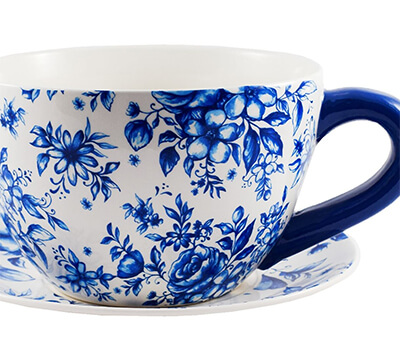 Image of Ivyline Large Teacup Planter in Blue Country Floral, 25cm