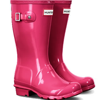 Image of Original Gloss Bright Pink Kids Hunter Wellies - UK 4