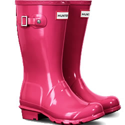Small Image of Original Gloss Bright Pink Kids Hunter Wellies - UK 4