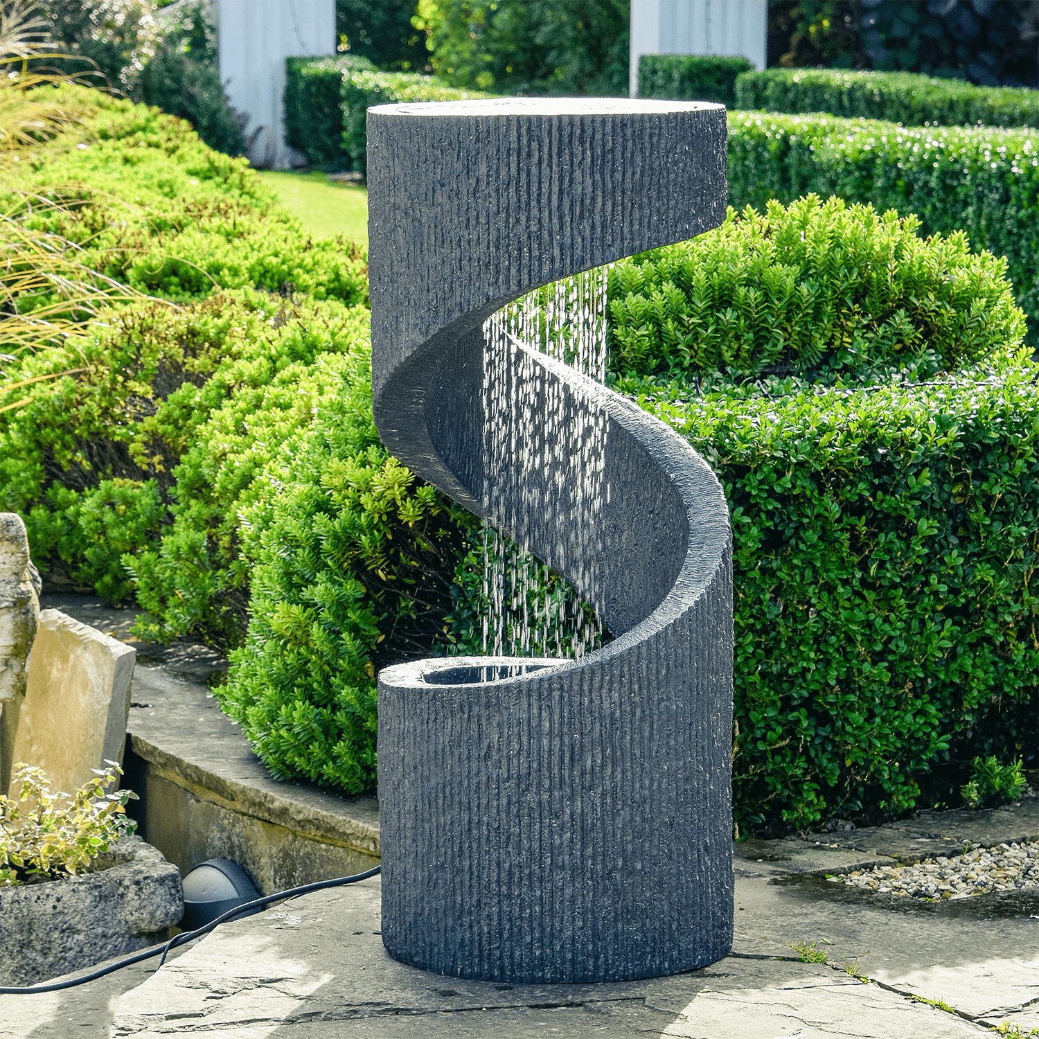 Outdoor Spiral Water Feature Granite 163 349 99
