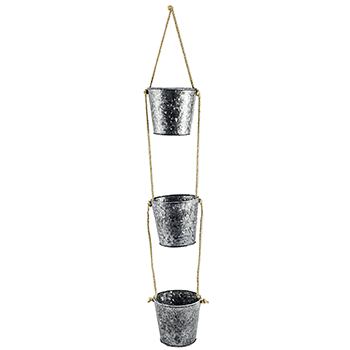 Image of Set of 3 Galvanised Hanging Planters