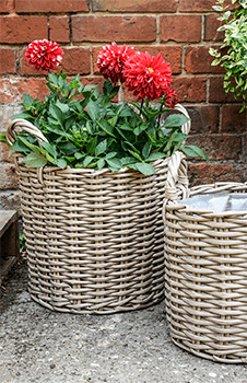 Image of Set of 2 Polyrattan Planters Natural