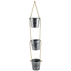 Small Image of Set of 3 Galvanised Hanging Planters