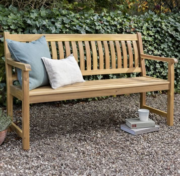 Image of Kettler RHS Chelsea 5ft (150cm) Bench with Seat Pad in Acacia