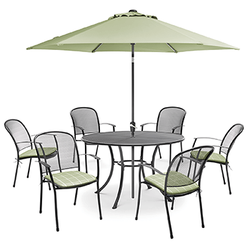 Image of Kettler Caredo 6 Seater Round Dining Set with Parasol in Sage
