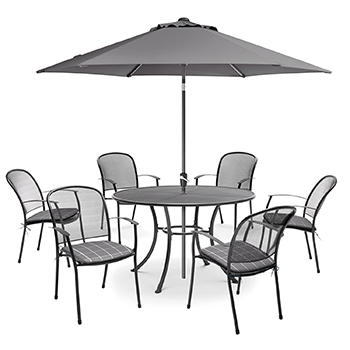 Image of Kettler Caredo 6 Seater Round Dining Set with Parasol in Slate