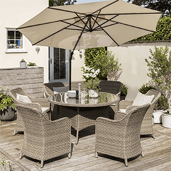 Image of Kettler Charlbury 6 Seater Dining Set with Dining Chairs