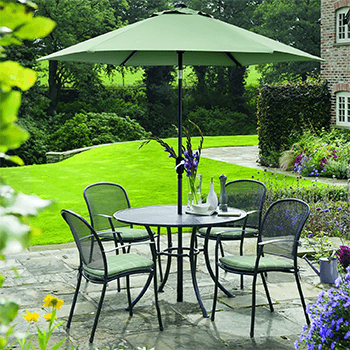 Image of Kettler Caredo 4 Seater Round Dining Set with Parasol in Sage