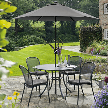 Image of Kettler Caredo 4 Seater Round Dining Set with Parasol in Slate