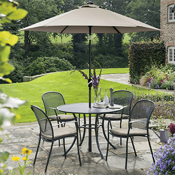 Image of Kettler Caredo 4 Seater Round Dining Set with Parasol in Stone