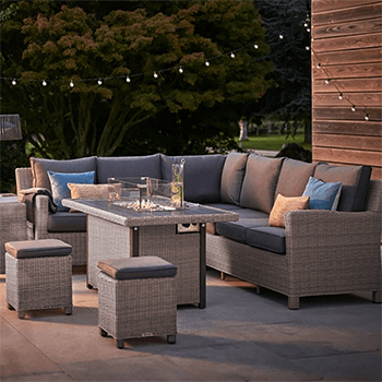 Image of Kettler Palma Right Hand Corner Sofa with Fire Pit in Rattan