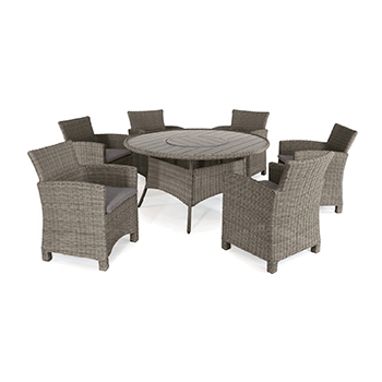 Image of Kettler Palma 6 Seater Dining Set with Lazy Susan in Rattan