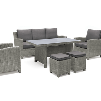 Image of Kettler Palma Sofa Casual Dining Set with Glass Table in White Wash / Taupe