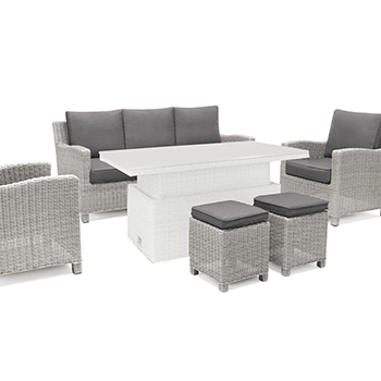 Image of Kettler Palma Casual Dining Sofa Seating in White Wash / Taupe - NO TABLE