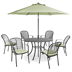 Small Image of Kettler Caredo 6 Seater Round Dining Set with Parasol in Sage