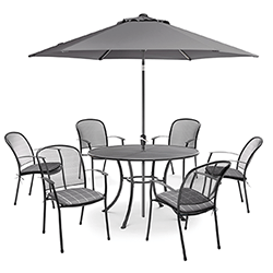 Small Image of Kettler Caredo 6 Seater Round Dining Set with Parasol in Slate