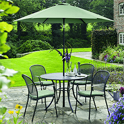 Small Image of Kettler Caredo 4 Seater Round Dining Set with Parasol in Sage