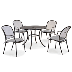 Extra image of Kettler Caredo 4 Seater Round Dining Set with Parasol in Slate