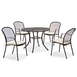 Extra image of Kettler Caredo 4 Seater Round Dining Set with Parasol in Stone