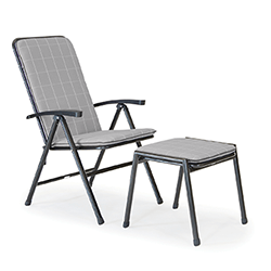 Small Image of Kettler Novero Recliner with Footstool and Cushions in Slate