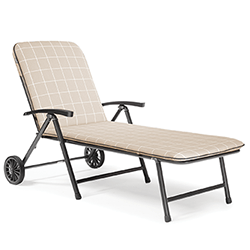 Small Image of Kettler Novero Sunlounger with Cushion in Stone