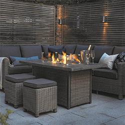 Small Image of Kettler Palma Right Hand Corner Sofa with Fire Pit in Rattan