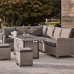 Extra image of Kettler Palma Right Hand Corner Sofa with Fire Pit in Rattan