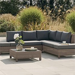 Small Image of Kettler Palma Low Lounge Corner Sofa Set in Rattan / Taupe