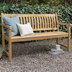 Small Image of Kettler RHS Chelsea 5ft (150cm) Bench with Seat Pad in Acacia