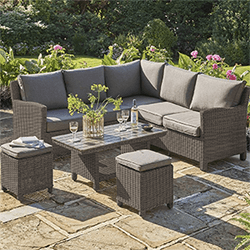 Small Image of Kettler Palma Mini Corner Sofa Set with Coffee Table, in Rattan