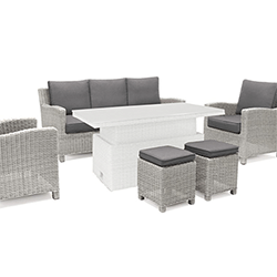 Small Image of Kettler Palma Casual Dining Sofa Seating in White Wash / Taupe - NO TABLE