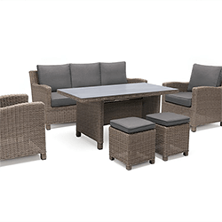 Small Image of Kettler Palma Glass Topped Sofa Casual Dining Set in Rattan / Taupe