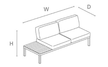 Kettler Elba Left Modular Sofa with Side Table - dimensions image
