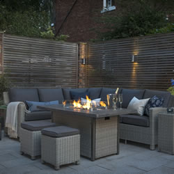 Small Image of Kettler Palma Corner Sofa Set with Fire Pit Table, White Wash