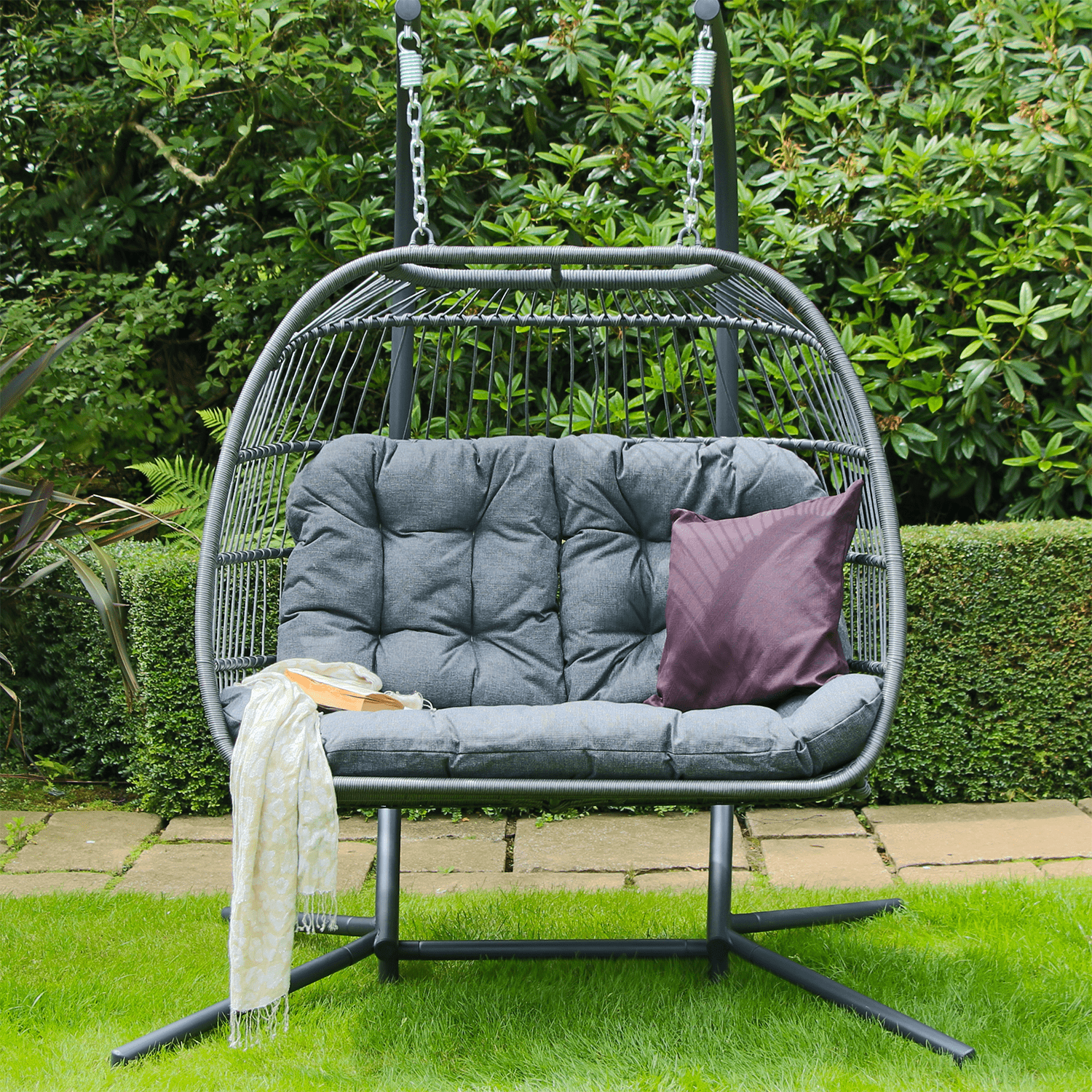 Eleanor Folding Double Hanging Egg Chair Cocoon In Grey 399 Garden4less Uk Shop