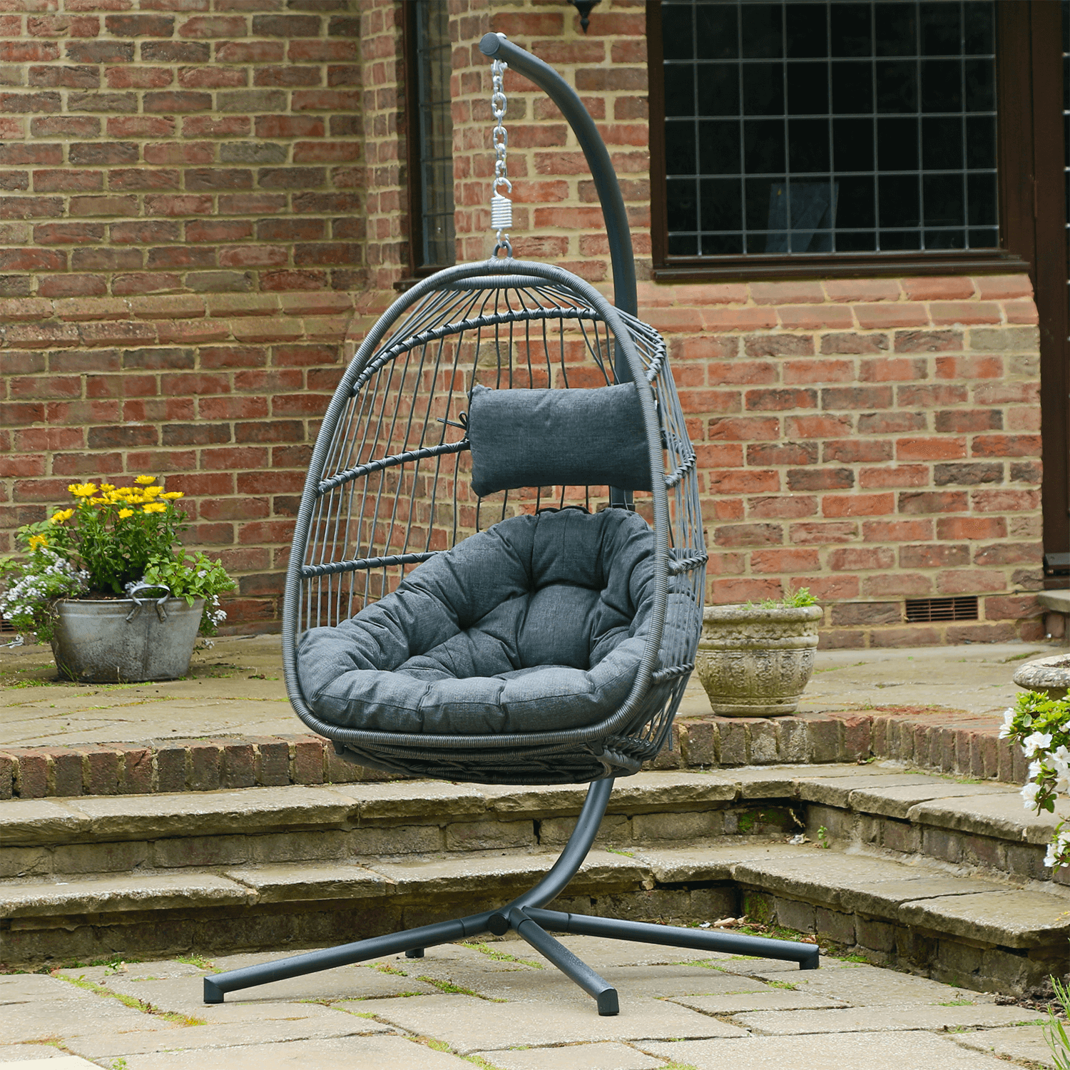 Holly Single Folding Hanging Egg Chair Cocoon In Grey 289 99 Garden4less Uk Shop