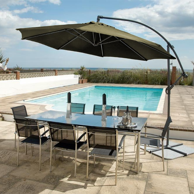 Image of Round Aluminium Cantilever Sunshade Taupe by Alexander Rose
