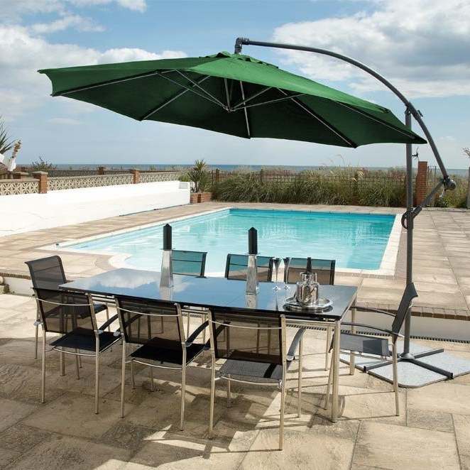 Image of Round Aluminium Cantilever Sunshade Green by Alexander Rose