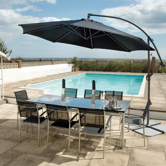 Image of Round Aluminium Cantilever Sunshade Black by Alexander Rose