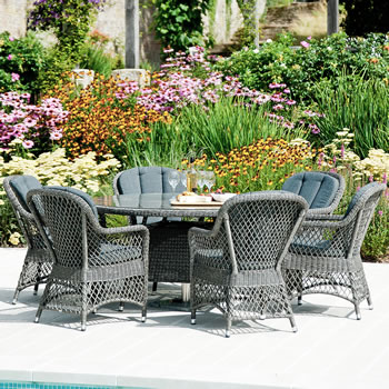 Image of Monte Carlo 6 Seater Open Weave Dining Furniture Set by Alexander Rose