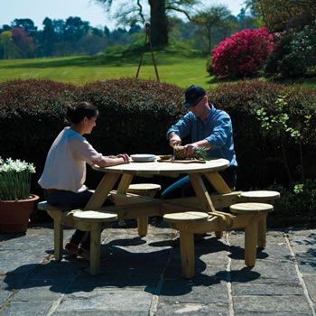 Image of Pine FSC Gleneagles 8 Seater Picnic Table by Alexander Rose