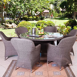 Small Image of Monte Carlo 6 Seater Weave garden Furniture Set by Alexander Rose