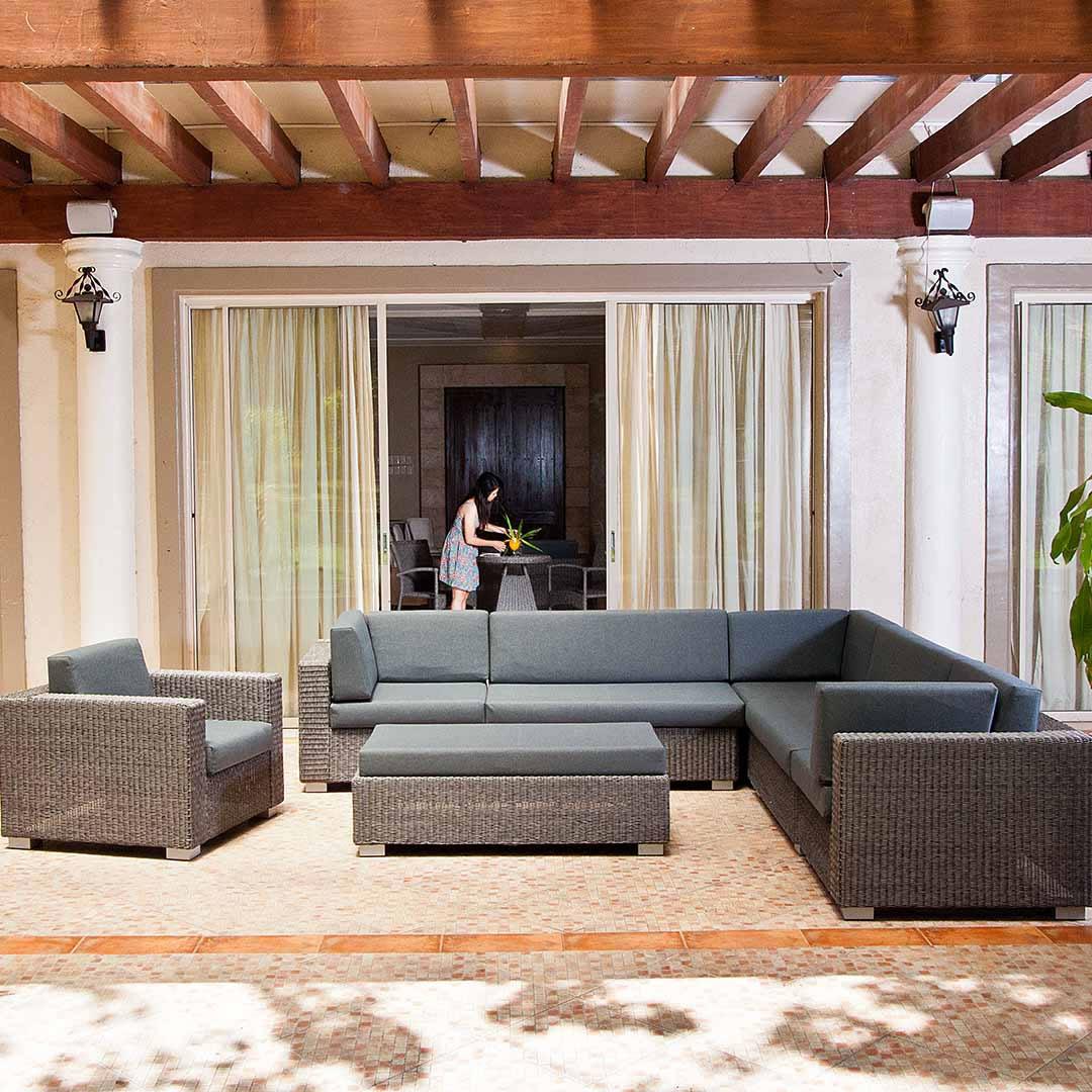 Very Small Corner Sofa Uk: Monte Carlo Rattan Weave 7 Seater Corner Garden Sofa Set