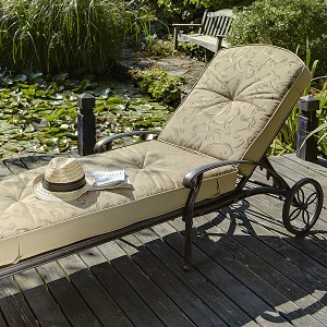 Image of Hartman Amalfi Lounger in Bronze with Floral Cushion