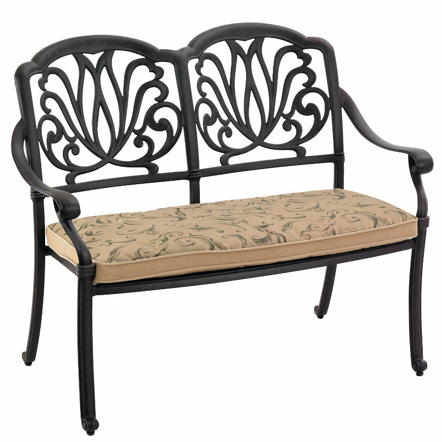 Extra image of hartman amalfi bench in bronze with floral cushion