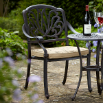 Amalfi Dining Chair in Bronze with Floral Cushions