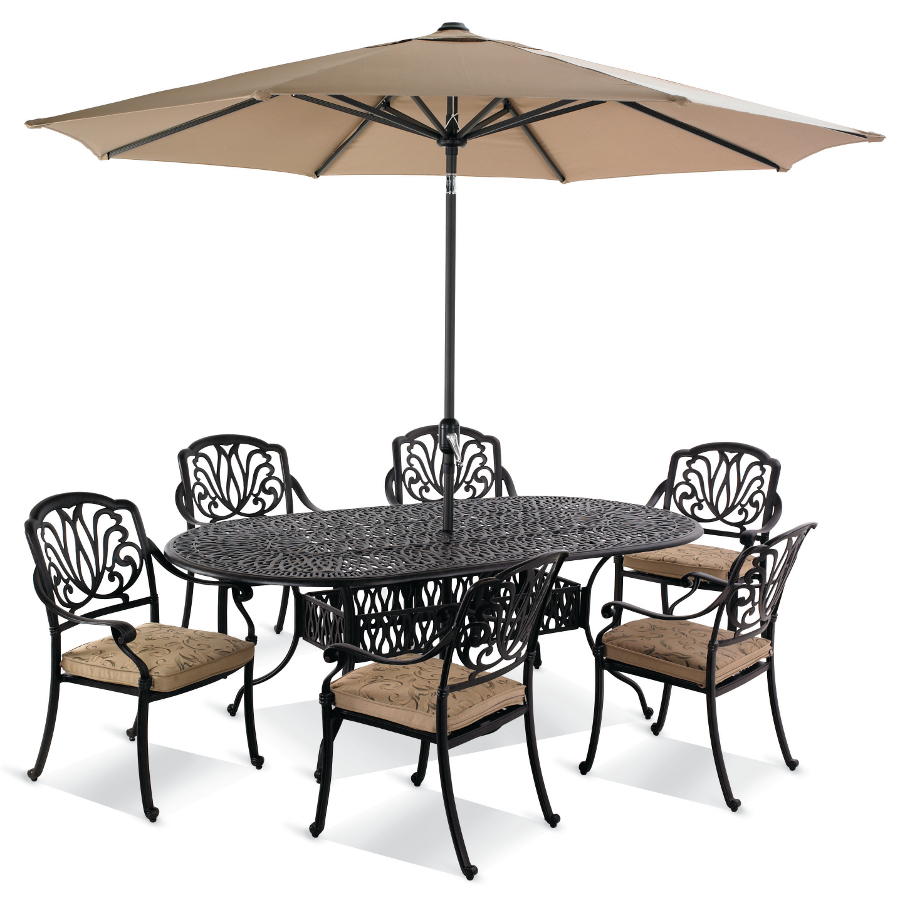 hartman amalfi 6 seater oval set in bronze with floral cushions - Garden Furniture 6 Seater Sets
